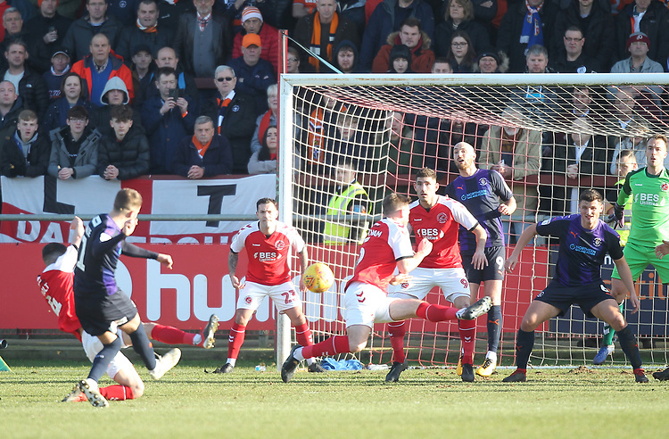 Fleetwood Town's Ashley Eastham blocks a shot from Luton Town's Andrew Shinnie<br /> <br /> Photographer Mick Walker/CameraSport<br /> <br /> The EFL Sky Bet League One - Fleetwood Town v Luton Town - Saturday 16th February 2019 - Highbury Stadium - Fleetwood<br /> <br /> World Copyright © 2019 CameraSport. All rights reserved. 43 Linden Ave. Countesthorpe. Leicester. England. LE8 5PG - Tel: +44 (0) 116 277 4147 - admin@camerasport.com - www.camerasport.com