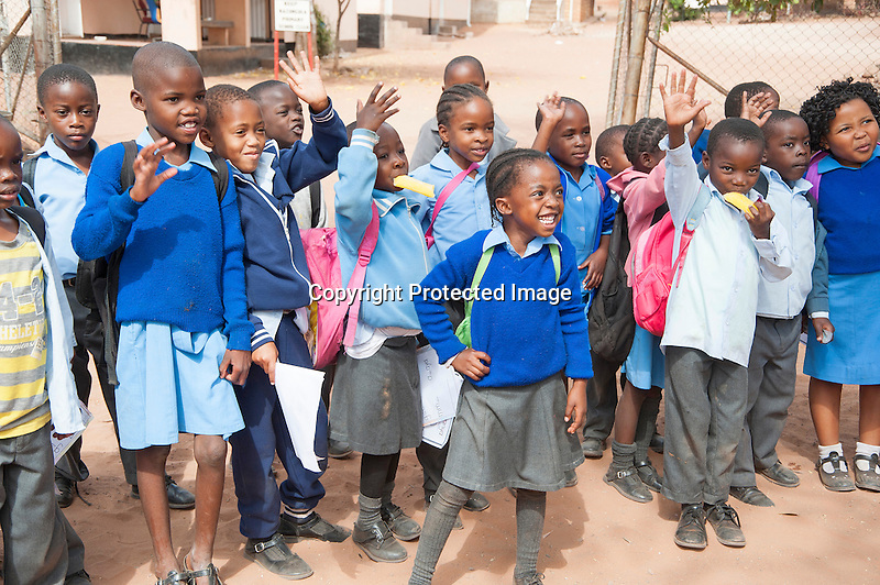 Smiling School Children on Way Home in Botswana in Africa
