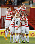 Tony Andreu mobbed after scoring for Hamilton