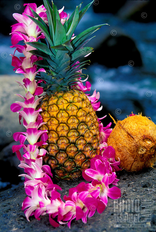 Pineapple, coconut and an orchid lei