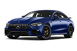 Stock pictures of low aggressive front three quarter view of a 2019 Mercedes Benz AMG-GT 63-S 5 Door Hatchback