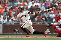 SAN FRANCISCO, CA - JULY 7:  Hunter Pence #8 of the San Francisco Giants bats against the St. Louis Cardinals during the game at AT&T Park on Saturday, July 7, 2018 in San Francisco, California. (Photo by Brad Mangin)