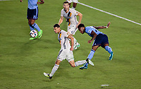 Carson, CA - Saturday August 12, 2017: Daniel Steres, Rodney Wallace during a Major League Soccer (MLS) game between the Los Angeles Galaxy and the New York City FC at StubHub Center.