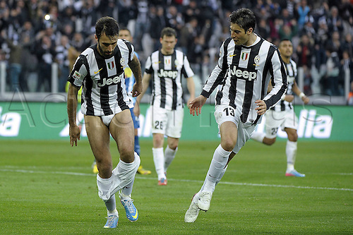 06.04.2013 Turin, Italy. Mirko Vucinic celebrates his goal by taking off his shorts during the Serie A game between Juventus and Pescara from the Juventus Stadium.