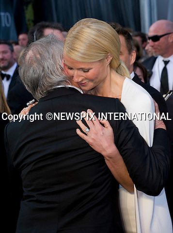 """OSCARS 2012 - GWYNETH PALTROW HUGS STEVEN SPEILBERG.84th Academy Awards arrivals, Kodak Theatre, Hollywood, Los Angeles_26/02/2012.Mandatory Photo Credit: ©Dias/Newspix International..**ALL FEES PAYABLE TO: """"NEWSPIX INTERNATIONAL""""**..PHOTO CREDIT MANDATORY!!: NEWSPIX INTERNATIONAL(Failure to credit will incur a surcharge of 100% of reproduction fees)..IMMEDIATE CONFIRMATION OF USAGE REQUIRED:.Newspix International, 31 Chinnery Hill, Bishop's Stortford, ENGLAND CM23 3PS.Tel:+441279 324672  ; Fax: +441279656877.Mobile:  0777568 1153.e-mail: info@newspixinternational.co.uk"""