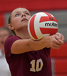 Red Bud's Jenna Salger bumps the ball during a fourth round game against Highland at the Granite City Fall Classic Volleyball Tournament on Saturday September 15, 2018.<br /> Tim Vizer/Special to STLhighschoolsports.com