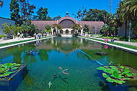 Lily, pond, Reflections, Spanish, Colonial, Architecture,  Balboa Park, San Diego, Ca,