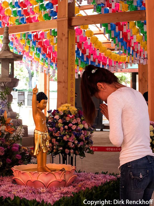 Schmuck zu Buddha's Geburtstag imTempel Bonyeun-sa in Gangnam, Seoul, S&uuml;dkorea, Asien<br /> Decoration at Buddha's birthday, buddhistic temple Bonyeun-sa in Gangnam, Seoul, South Korea, Asia