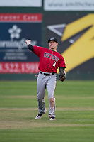 Billings Mustangs center fielder Drew Mount (8) during a Pioneer League game against the Idaho Falls Chukars at Melaleuca Field on August 22, 2018 in Idaho Falls, Idaho. The Idaho Falls Chukars defeated the Billings Mustangs by a score of 5-3. (Zachary Lucy/Four Seam Images)
