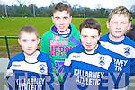 Waiting on the sideline during their U13 clash with Killarney Celtic in Celtic Park, Killarney on Saturday were Mark O'Shea, Chris O'Meara, Diarmuid Hickey and John O'Brien, Killarney Athletic.