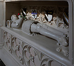 Memorial tomb Sir William Clopton 1375-1446 with red rose, Holy Trinity Church, Long Melford, Suffolk, England, UK
