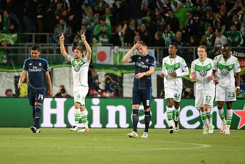 06.04.2016. Wolfsburg, Geramny. UEFA Champions League quarterfinal. VfL Wolfsburg versus Real Madrid.  CASEMIRO (Real Madrid, 14) Toni Kroos (Real Madrid, 8) disappointed as Wolfsburg celebrate their 2nd goal