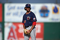 Lancaster JetHawks relief pitcher Justin Lawrence (25) prepares to deliver a pitch during a California League game against the Inland Empire 66ers at San Manuel Stadium on May 20, 2018 in San Bernardino, California. Inland Empire defeated Lancaster 12-2. (Zachary Lucy/Four Seam Images)
