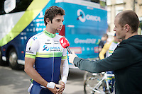 Michael Matthews (AUS/Orica-GreenEDGE) being interviewed ahead of his final training ride which wil decide wether he will actually take part in the 101th Tour.<br /> (where eventually he will not start in due to the effects of a  severe training crash 3 days earlier...)<br /> <br /> Tour de France 2014