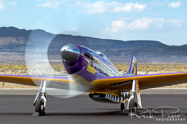 "P-51 Mustang Air Racer ""Voodoo"" runs up the RPM's after a heat race at the 2013 Reno National Championship Air Races."