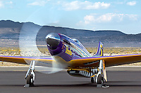 """P-51 Mustang Air Racer """"Voodoo"""" runs up the RPM's after a heat race at the 2013 Reno National Championship Air Races."""