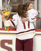 Meghan Grieves (BC - 17), Brooke DiBona (BC) - The Boston College Eagles defeated the visiting Providence College Friars 7-1 on Friday, February 19, 2016, at Kelley Rink in Conte Forum in Boston, Massachusetts.