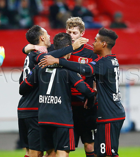 25.02.2016. Leverkusen, Germany. UEFA Europa League football. Bayer Leverkusen versus Sporting Lisbon.  Karim Bellarabi ( Bayer 04 Leverkusen) celebrates his goal with Stefan Kiessling (Bayer 04 Leverkusen) and Javier Chicharito Hernandez