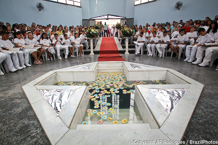 First Communion of children from Favela da Maré at Sagrada Família Catholic Church, Rio de Janeiro, Brazil.