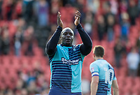 Adebayo Akinfenwa of Wycombe Wanderers applauds the support during the Sky Bet League 2 match between Leyton Orient and Wycombe Wanderers at the Matchroom Stadium, London, England on 1 April 2017. Photo by Andy Rowland.