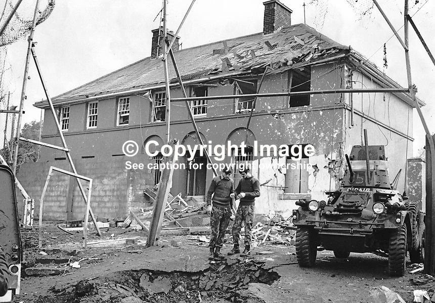 RUC station, KInawley, Co Fermanagh, N Ireland, which was proxy bombed on 30th August 1974. A woman and 2 children were held hostage by the Provisional IRA whilst her husband was forced to drive his car containing a bomb to the police station. He was allowed to shout a warning. Although there were no injuries damage to the police station and nearby properties was extensive. 1974083001RUC1..Copyright Image from Victor Patterson, 54 Dorchester Park, Belfast, United Kingdom, UK...For my Terms and Conditions of Use go to http://www.victorpatterson.com/Victor_Patterson/Terms_%26_Conditions.html