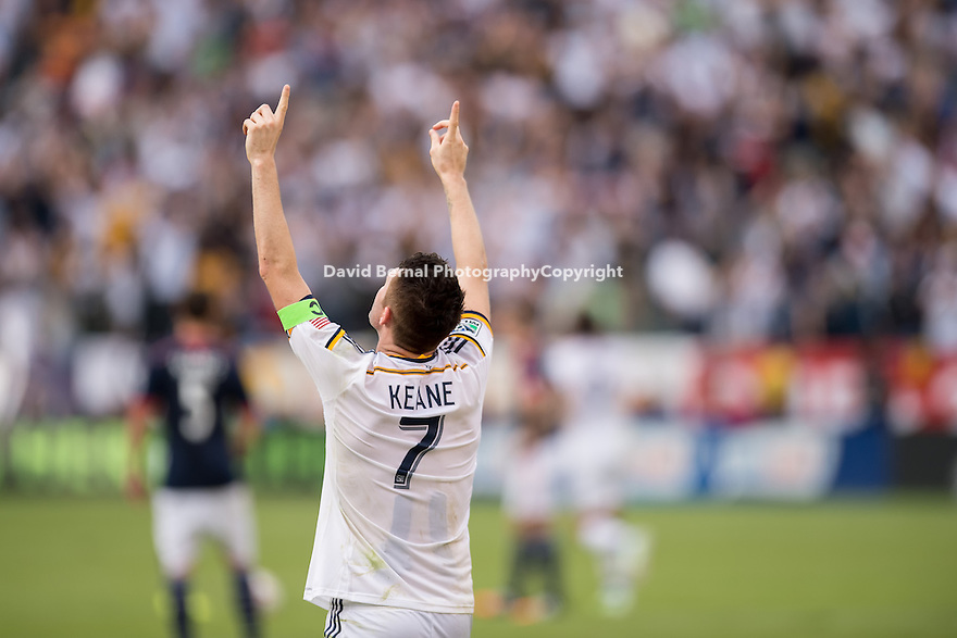 CARSON, CA - December 7, 2014: LA Galaxy forward, Robbie Keane (7) celebrating the game winning goal. The MLS Cup. LA Galaxy vs New England Revolution match at the StubHub Center in Carson, California. Final score, LA Galaxy 2, New England Revolution 1 (2 OT).