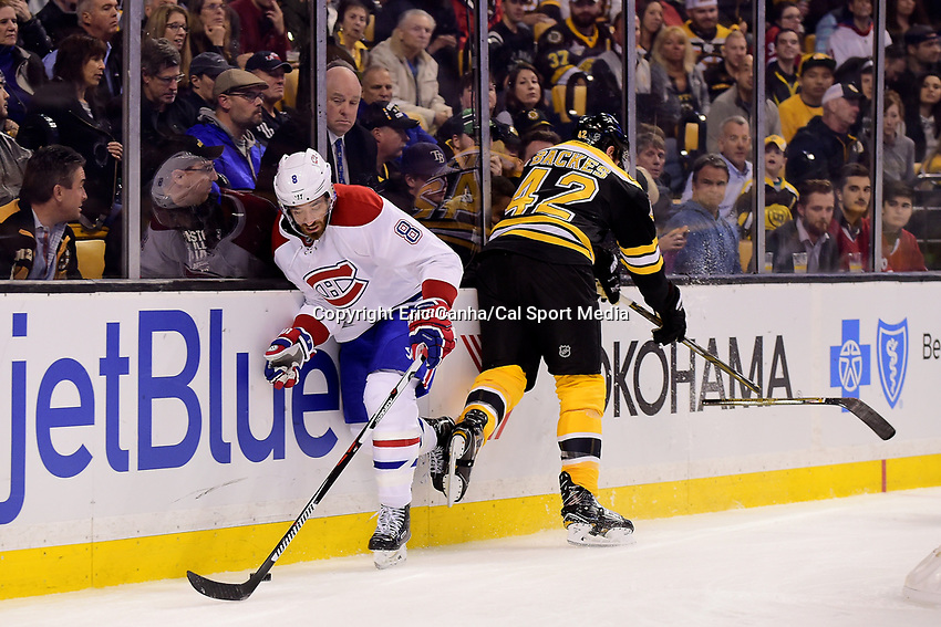 Saturday, Oct 22, 2016: Boston Bruins right wing David Backes (42) snaps his stick during a hit on Montreal Canadiens defenseman Greg Pateryn (8) during the National Hockey League game between the Montreal Canadiens and the Boston Bruins held at TD Garden, in Boston, Mass.  Eric Canha/CSM