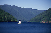 sail boat on Lake Crescent in Olympic National Park, Washington State