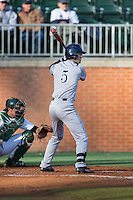 Charlie Warren (5) of the Rice Owls at bat against the Charlotte 49ers at Hayes Stadium on March 6, 2015 in Charlotte, North Carolina.  The Owls defeated the 49ers 4-2.  (Brian Westerholt/Four Seam Images)