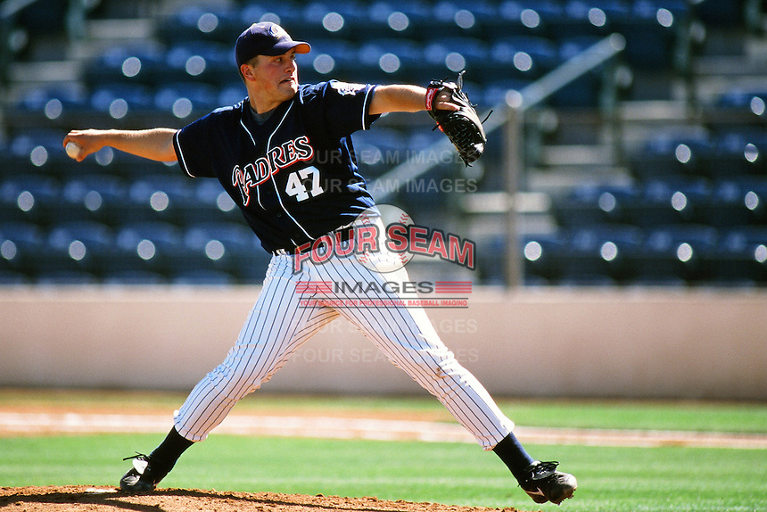 Jason Middlebrook of the San Diego Padres organization plays in a California Fall League game at The Epicenter circa October 1999 in Rancho Cucamonga, California. (Larry Goren/Four Seam Images)