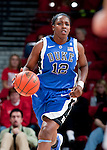 Duke Blue Devils guard Chelsea Gray (12) handles the ball during an NCAA college women's basketball game against the Wisconsin Badgers during the ACC/Big Ten Challenge at the Kohl Center in Madison, Wisconsin on December 2, 2010. Duke won 59-51. (Photo by David Stluka)