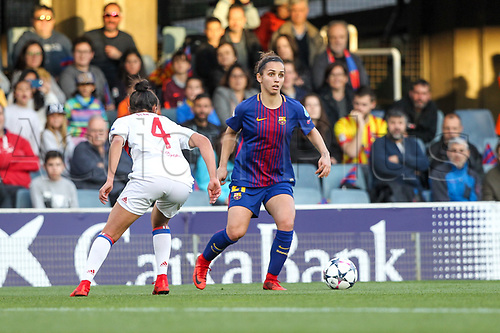 28th March 2018, Mini Estad, Barcelona, Spain; Womens Champions League football, quarter final, 2nd leg, Barcelona Women versus Lyon Women; Andonova FC Barcelona looking for a team mate outlet