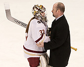 Katie Burt (BC - 33), Brent Hill (Merrimack - Associate Head Coach) - The number one seeded Boston College Eagles defeated the eight seeded Merrimack College Warriors 1-0 to sweep their Hockey East quarterfinal series on Friday, February 24, 2017, at Kelley Rink in Conte Forum in Chestnut Hill, Massachusetts.The number one seeded Boston College Eagles defeated the eight seeded Merrimack College Warriors 1-0 to sweep their Hockey East quarterfinal series on Friday, February 24, 2017, at Kelley Rink in Conte Forum in Chestnut Hill, Massachusetts.
