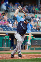 Trenton Thunder center fielder Jeff Hendrix (17) slams his bat down as he runs to first base during a game against the Hartford Yard Goats on August 26, 2018 at Dunkin' Donuts Park in Hartford, Connecticut.  Trenton defeated Hartford 8-3.  (Mike Janes/Four Seam Images)