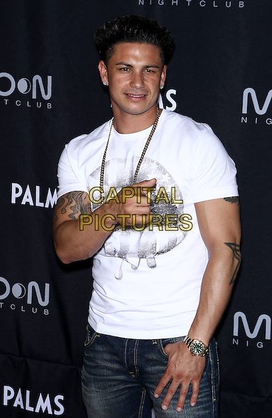 DJ Pauly D (Paul DelVecchio).Shaquille O'Neal's official retirement party at Moon Nightclub inside Palms Las Vegas, Nevada, USA..June 25th, 2011.half length white t-shirt jersey shore lips mouth print grey gray black necklace tattoos hand finger pointing .CAP/ADM/MJT.© MJT/AdMedia/Capital Pictures.