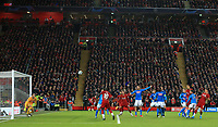 27th November 2019; Anfield, Liverpool, Merseyside, England; UEFA Champions League Football, Liverpool versus SSC Napoli ; Dejan Lovren of Liverpool scores with a header past SSC Napoli goal keeper Alex Meret to level the score at 1-1 after 65 minutes - Editorial Use