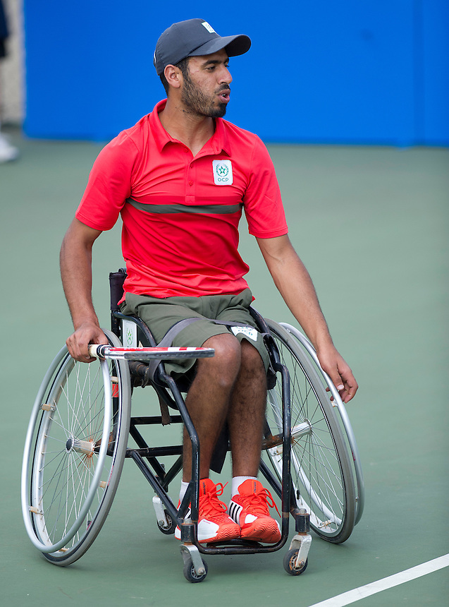 Ayoub Ettali (MAR) in action with his partner Shaun Swetman (GBR) in their Mens Doubles First Round match today playing against - Steve Crompton (GBR) and Pim Palmen (NED)<br /> <br />  (Photo by James Jordan/Tennis Foundation) <br /> <br /> Tennis - British Open Wheelchair Tennis Championships - Wednesday 17th July 2012 - Nottingham Tennis Centre - Nottingham<br /> <br /> &copy; Tennis Foundation/James Jordan - The National Tennis Centre - 100 Priory Lane - Roehampton - London - SW15 5JQ - Tel 020 8487 7304 - info@tennisfoundation.org.uk