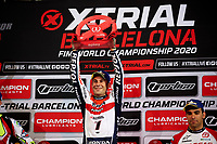2nd February 2020; Palau Sant Jordi, Barcelona, Catalonia, Spain; X Trail Mountain Biking Championships; Toni Bou (Spain) of the Montesa Team celebrates his victory on the podium after the X-Trail indoor Barcelona