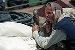 KOMAN - ALBANIA - 19 JUNE 1998 -- Old man on the ferry to Fierze. -- PHOTO: JUHA ROININEN / EUP-IMAGES