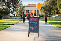 Occidental College students present their summer internship experiences at the Career Development Center's Reverse Career Fair, Thorne Hall patio, Sept. 3, 2015.<br />