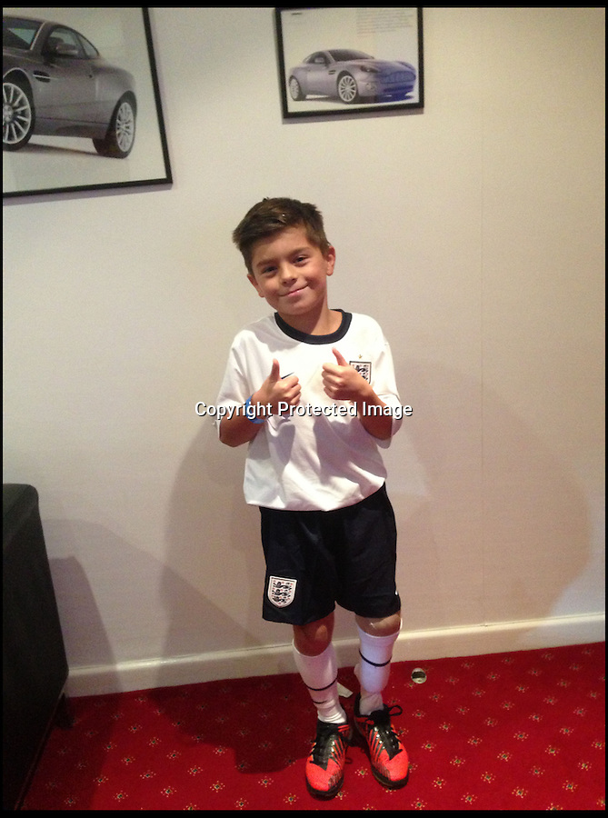 BNPS.co.uk (01202 558833)<br /> Pic: BNPS<br /> <br /> Leon being a mascot for England v Ireland u16 2013. <br /> <br /> Perfect gift for Xmas...