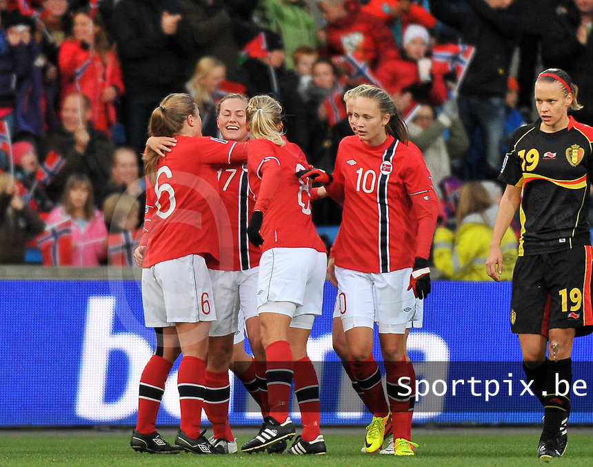 20130925 - OSLO , NORWAY : Norway pictured celebrating their 2-0 lead during the female soccer match between Norway and Belgium , on the second matchday in group 5 of the UEFA qualifying round to the FIFA Women World Cup in Canada 2015 at the Ullevaal Stadion , Oslo . Wednesday 25th September 2013. PHOTO DAVID CATRY
