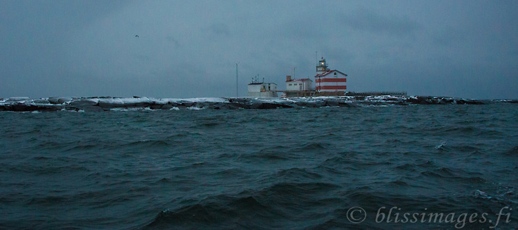Approaching Märket lighthouse in early December at daybreak. The boat trip from Eckerö on the west coast of Åland took 1 1/2 hours.