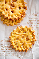 Traditional Venetian dolci ebraici or Jewish sweets- sun shaped biscuits, Azimo, flavoured with fennel seeds, in the Jewish Ghetto, Venice, Italy