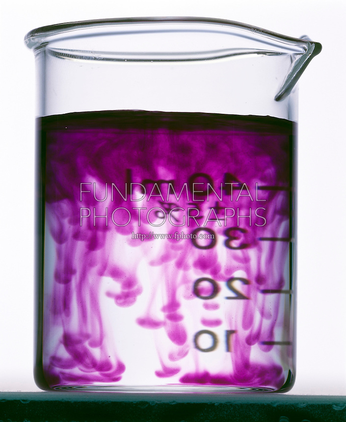 SALT FINGERS: POTASSIUM PERMANGANATE IN WATER<br /> (Variations Available)<br /> The difference in the densities of the upper layer of KMnO4 (aq) and of the water results in the thin streak and blob pattern of diffusion of the KMnO4.