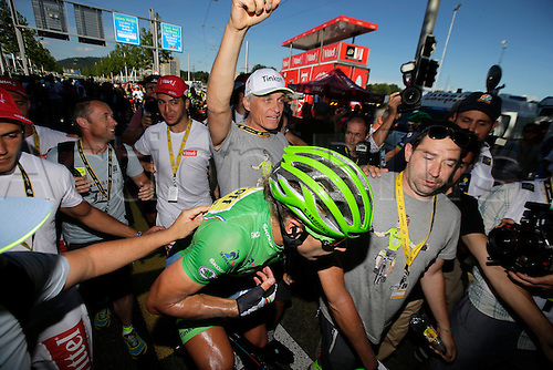 18.07.2016. Moirans-en-Montagne to Berne, Switzerland. SAGAN Peter (SVK) Rider of TINKOFF and Oleg Tinkov during stage 16 of the 2016 Tour de France a 209 km stage between Moirans-en-Montangne and Berne, on July 18, 2016 in Berne, Switzerland