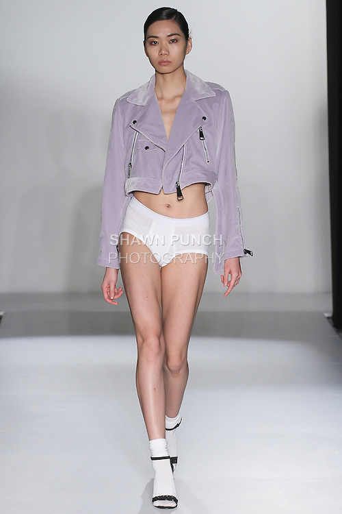 Model walks runway in an outfit from the Char Fall 2016 collection, at the Emerging Designers Fall 2016 show, at Fashion Gallery New York Fashion Week Fall Winter 2016, during New York Fashion Week Fall 2016.