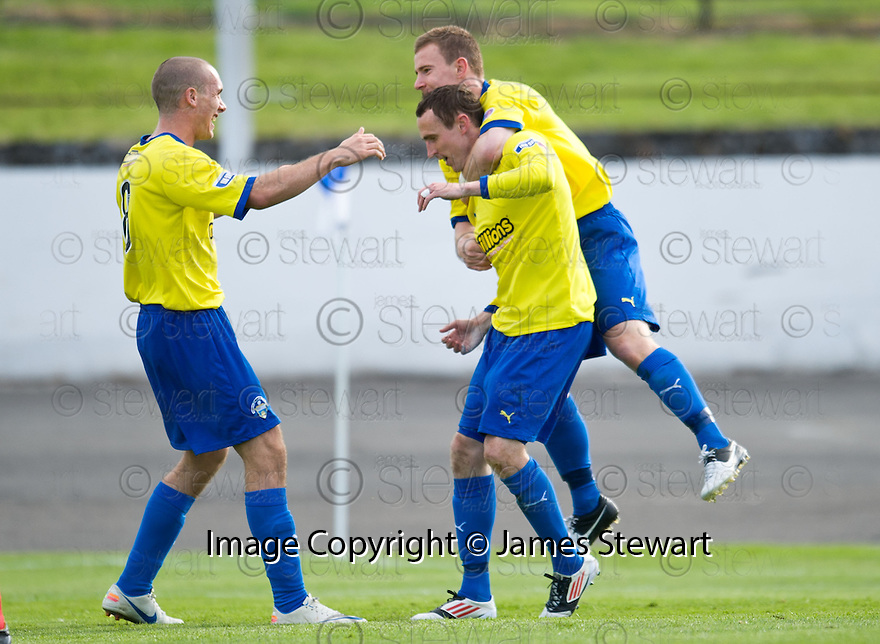 Morton's David OBrien celebrates after he scores Morton's fourth goal   ...