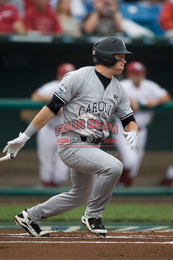 South Carolina's Evan Marzilli in Game 3 of the NCAA Division One Men's College World Series on Sunday June 20th, 2010 at Johnny Rosenblatt Stadium in Omaha, Nebraska.  (Photo by Andrew Woolley / Four Seam Images)