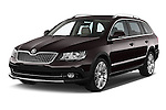 2015 Skoda SUPERB Elegance 5 Door Wagon 2WD Angular Front stock photos of front three quarter view